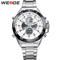 WEIDE Silver Stainless Steel Watch Men 30 Waterproof Analog Digital Display Auto Date Quartz Movement Watches Sale Items