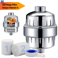 Hongdec Bathroom New with Vitamin C 13 Stage Shower Faucet Purifier Water Filter head chrome