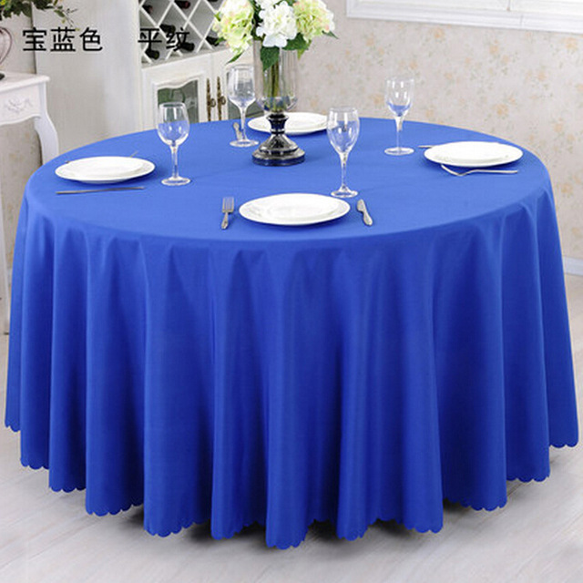 Free Shipping 10pcs Royal Blue 100 Polyester Visa Round Table Cloths Wedding Covers Linens
