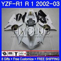 Body For YAMAHA YZF 1000 YZF R 1 YZF 1000 YZFR1 02 03 109HM15 YZF1000 YZF R1 2002 2003 YZF R1 03 02 Fairings Glossy white Frame