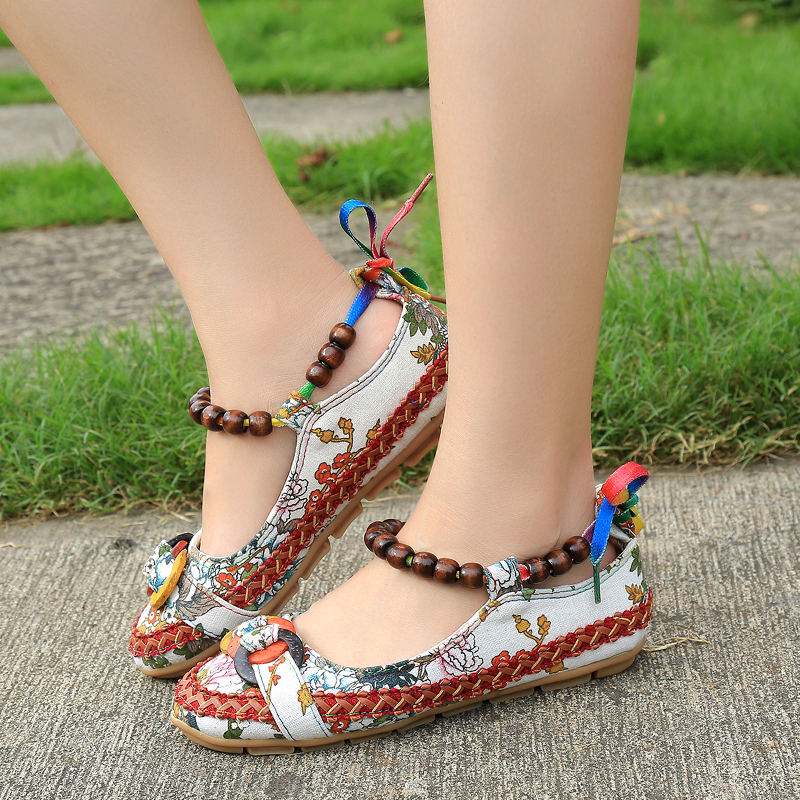 c0f8919df3c3a Women Big size Ethnic Embroidered Linen Fabric Flat Espadrille Chinese  Bohemia Floral Ankle Handmade Beaded Flax Shoe for Female-in Women s Flats  from Shoes ...