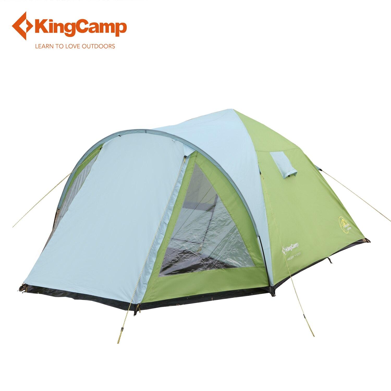 KingCamp Double-couches Camping Tente avec Écran Chambre 4 Personne 3-Saison Étanche Windyproof Pop-up Tente pour des Vacances en Famille