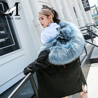 Winter Fur Coat Women Natural Real Raccoon Fur Collar Hooded Jacket Parka Thick Warm Long Genuine Real Fox Fur Lining Parkas