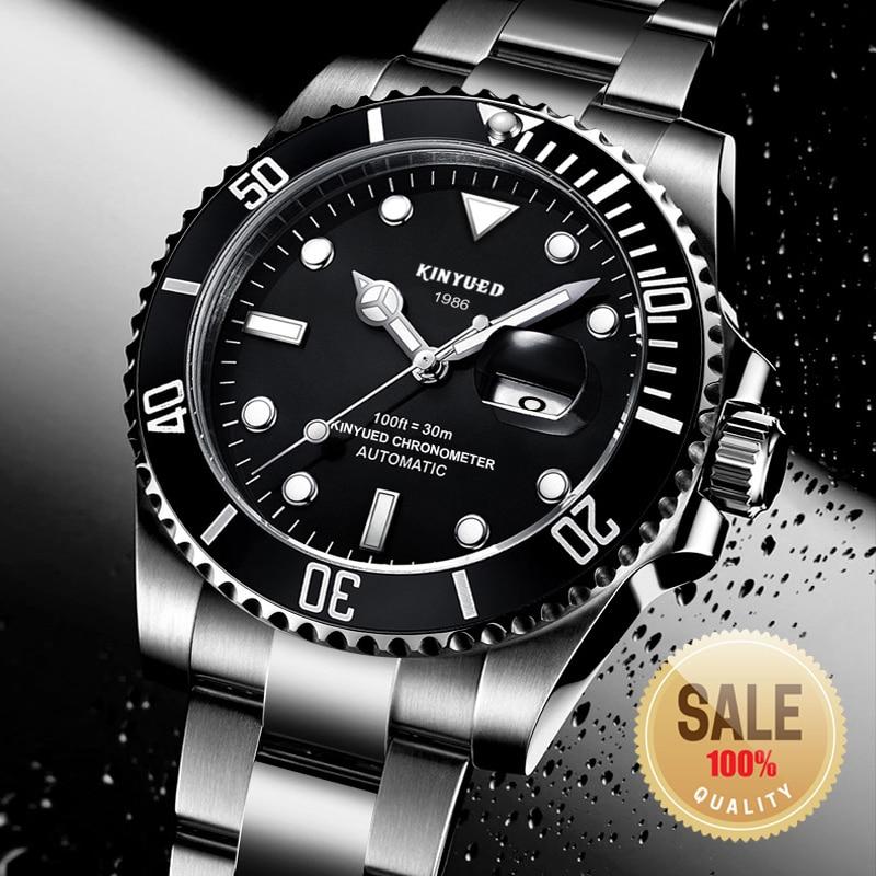 Papel KINYUED Marca Men Relógio Mecânico Automático Data Relógio Submarinista luxo Fashione Masculino Reloj Hombre Relogio masculino