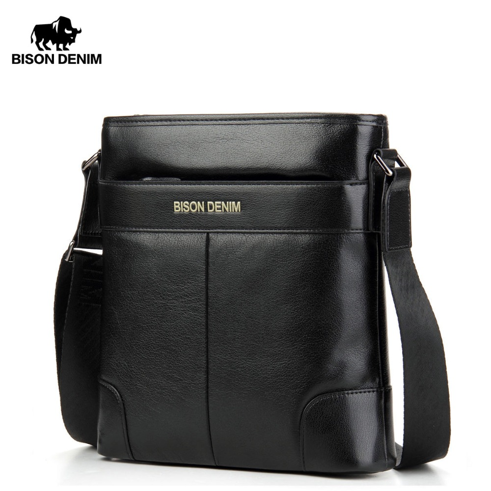 BISON DENIM Brand Male Bag Genuine Leather Shoulder Mens Bag Zipper Closed Waterproof Cowskin Casual Messenger Men Bags N2214BISON DENIM Brand Male Bag Genuine Leather Shoulder Mens Bag Zipper Closed Waterproof Cowskin Casual Messenger Men Bags N2214
