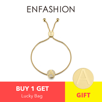 Enfashion Initial Letter Screw Charm Bracelets Gold Color Stainless Steel Trendy Letter Chain For Women Fashion Jewelry 188004