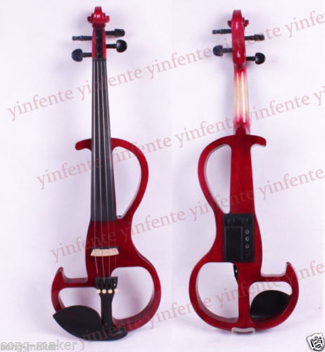 New 4/4 Electric Violin Ebony Parts Silent Powerful Sound Solid wood Red #2 4 4 high quality 5 string electric violin yellow 2 pickup violin