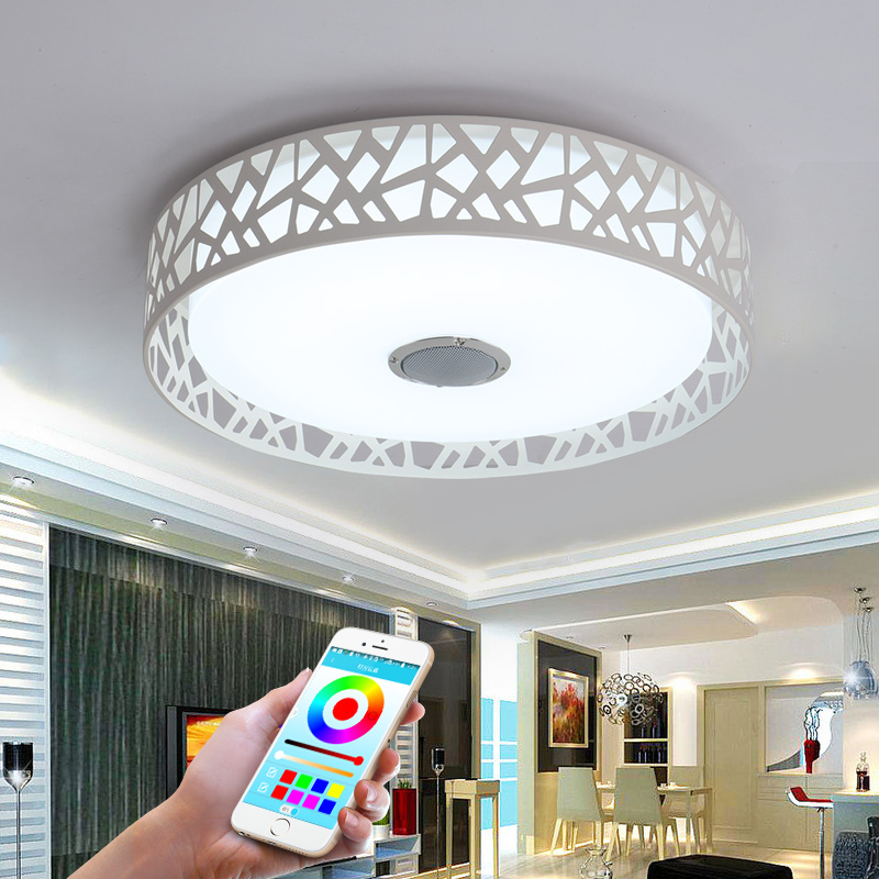 D47cm Music Lamp Modern LED Ceiling Lights With Bluetooth APP Control Color Changing Lighting Ceiling Lamp For Bedroom