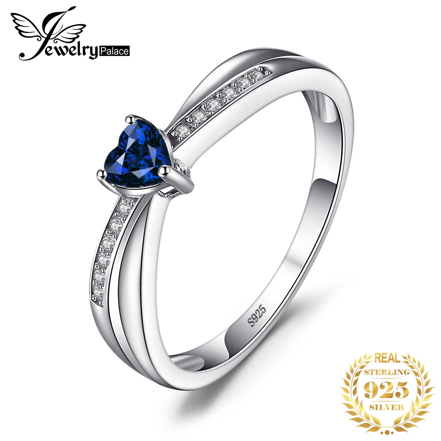 JewelryPalace Love-Heart 0.38ct Created Sapphires Engagement Ring For Women 925 Sterling Silver Jewelry Simple Love Gift