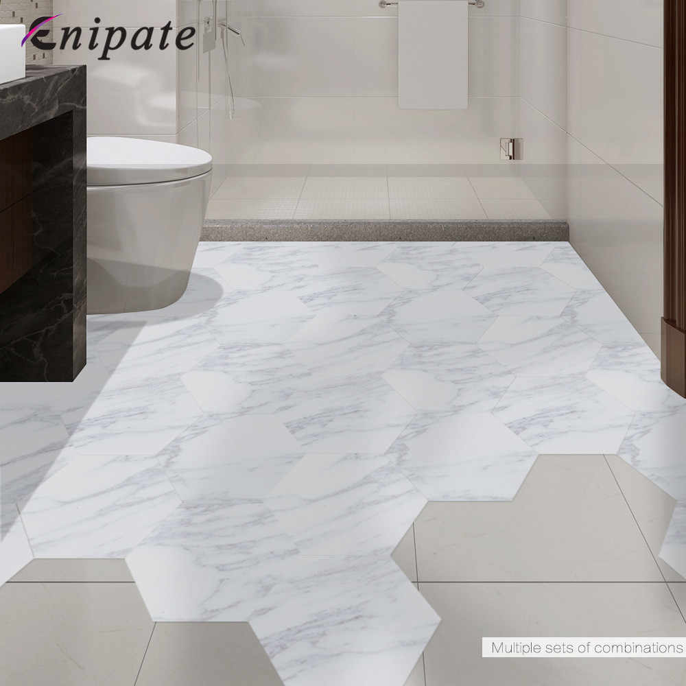 e76f4e22ece Enipate 10pcs set New Imitation Marble Hexagonal Tile Stickers Bathroom  Kitchen DIY Home Nonslip Floor