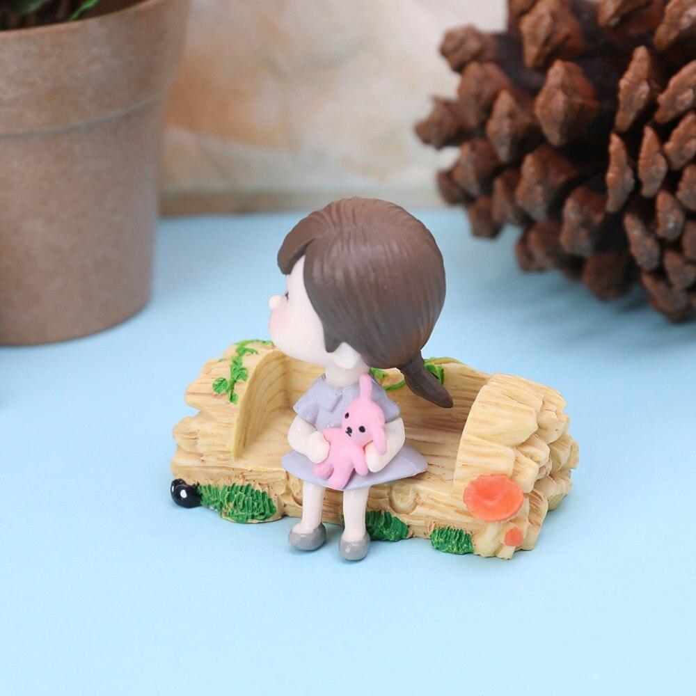 OOTDTY Waterproof Miniature Resin Bench Micro Garden Plant Pots Bonsai Craft Decoration Ornament 5.8cmx2.1cm