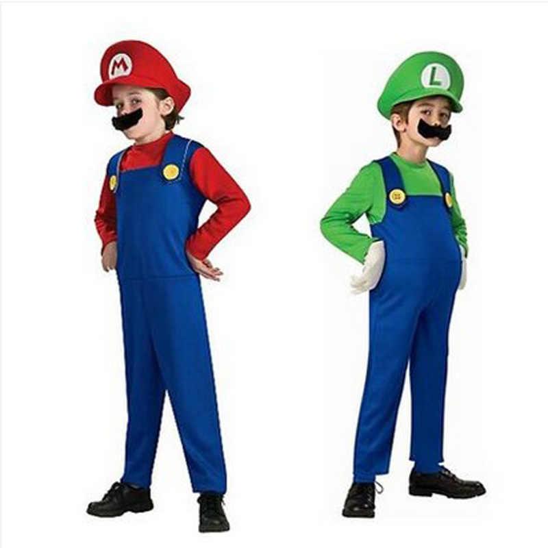 Cosplay Orang Dewasa dan Anak-anak Super Mario Bros Cosplay Kostum Tari Set Anak Pesta Halloween Mario dan Luigi Kostum untuk Anak-anak hadiah