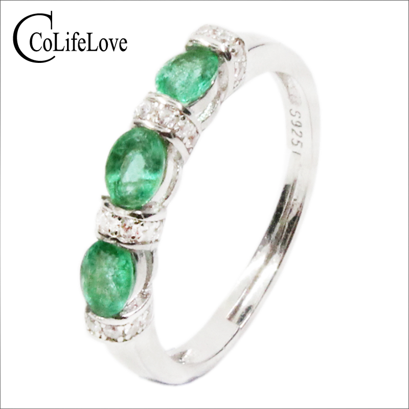 Classic silver emerald ring 3 pcs 3 mm 4 mm natural emerald ring 925 sterling silver