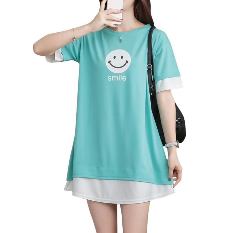 Summer Simple Women Long T-shirt O-Neck Letters Print Short Sleeve Fashion False Two Piece Splicing Tops Casual for Girl