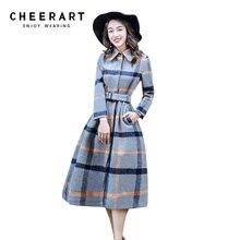 3145914825a Cheerart Plaid Woolen Blends Winter Wool Coat Women Long Adjustable Belt  Tweed
