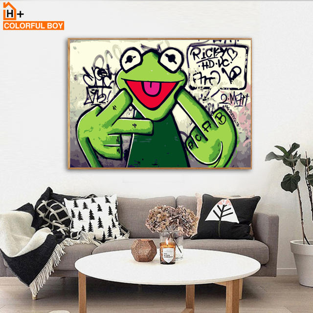 Rap Singer Frog Canvas Painting Wall Art Pop Posters Prints Graffiti