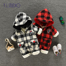 Y.L.STUDIO Newborn Jumpsuit Winter Baby Boy Plaid Romper