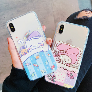 Lovely Cartoon sanrio Cinnamoroll relief soft TPU shockproof back cover for iphone 6 6s 7 8 plus X Xs Max XR Phone Case(China)