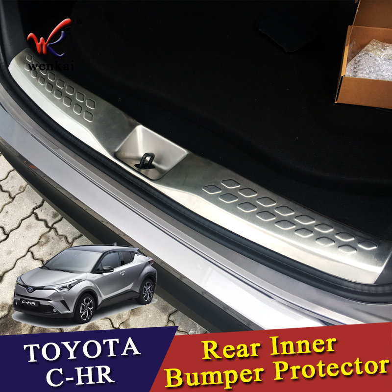 Black Stainless Rear Outer Bumper Sill Plate For Toyota CHR C-HR 2016-2018