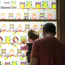 Stained Owl Window Privacy Film Foil Glass Sticker kids room bedroom door Static Cling Glue-free Decorative PVC Home Decor