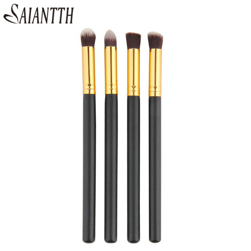SAIANTTH 4pcs eyes brushes set makeup black gold long thin eyeliner eyeshadow brush kit maquiagem protable beauty tool Masca-in Eye Shadow Applicator from Beauty & Health