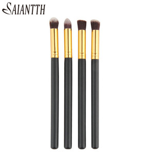 Image 1 - SAIANTTH 4pcs eyes brushes set makeup black gold long thin eyeliner eyeshadow brush kit maquiagem protable beauty tool Masca