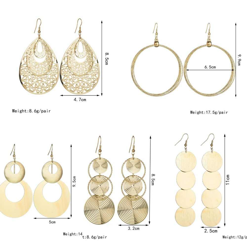 Baru Berlebihan Logam Lingkaran Besar Atmosfer Disc Multi Level Fashion Retro Round BoHo Style Hollow Wanita Anting-Anting