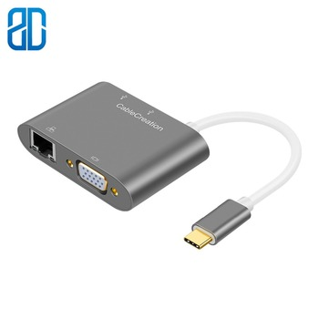 USB C to VGA Type C (Thunderbolt 3 Compatible) to Ethernet +VGA +USB 3.0x2 Multiports Adapter Compatible MacBook Pro MacBook Air