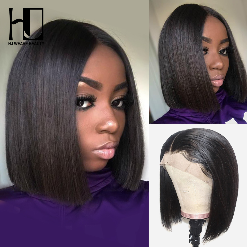Short Lace Front Human Hair Wigs Brazilian Straight Bob Wig Pre Plucked Hairline With Baby Hair Full End HJ Weave Beauty(China)