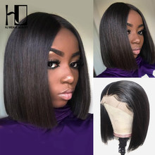 HJ Weave Beauty 13x6 Short Lace Front Human Hair Wigs Brazilian Straight Bob Wig Pre Plucked Hairline With Baby Hair Lace Wig(China)