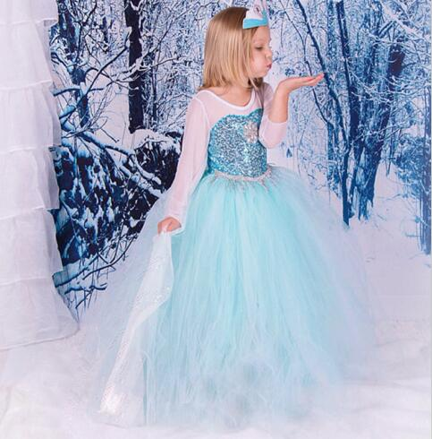 все цены на 1pcs Children girl's long sleeve Elsa  pricess lace dress with bling sky blue party dress Z0109 TZ01 онлайн