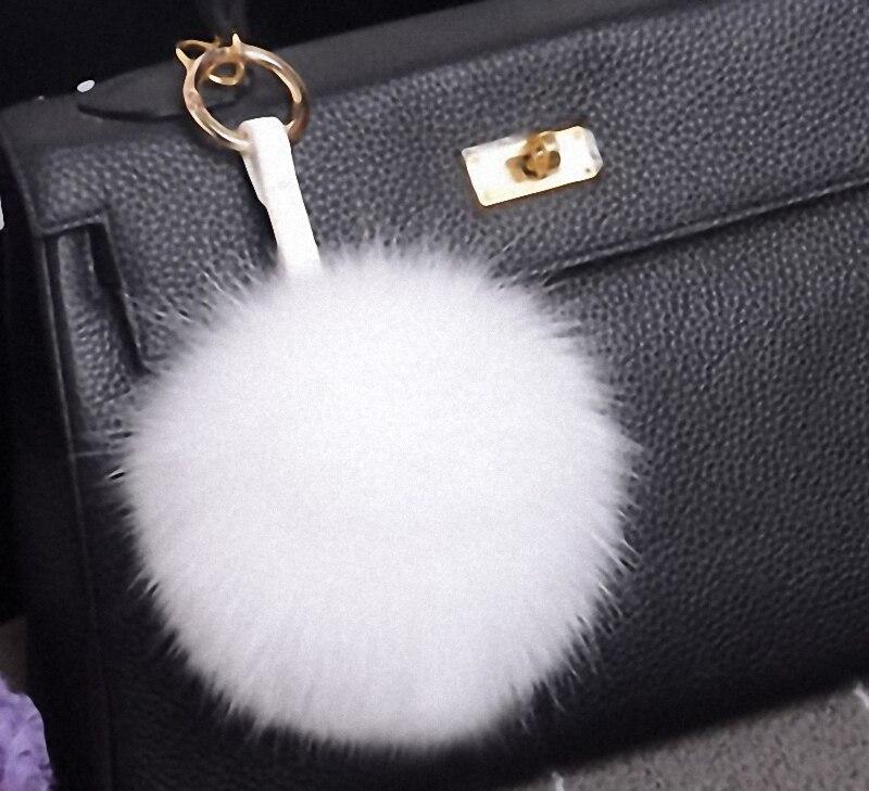 13-15cm Luxury Fluffy Real Fox Fur Ball Pom Pom Plush Size Genuine Fur Key Chain Metal Ring Pendant Bag Charm Fo-K010-white