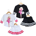 2016 Fashion Baby Girl Skirt Sets Character Lady Printed Pattern Kid Tops Striped Child Summer Clothing Set