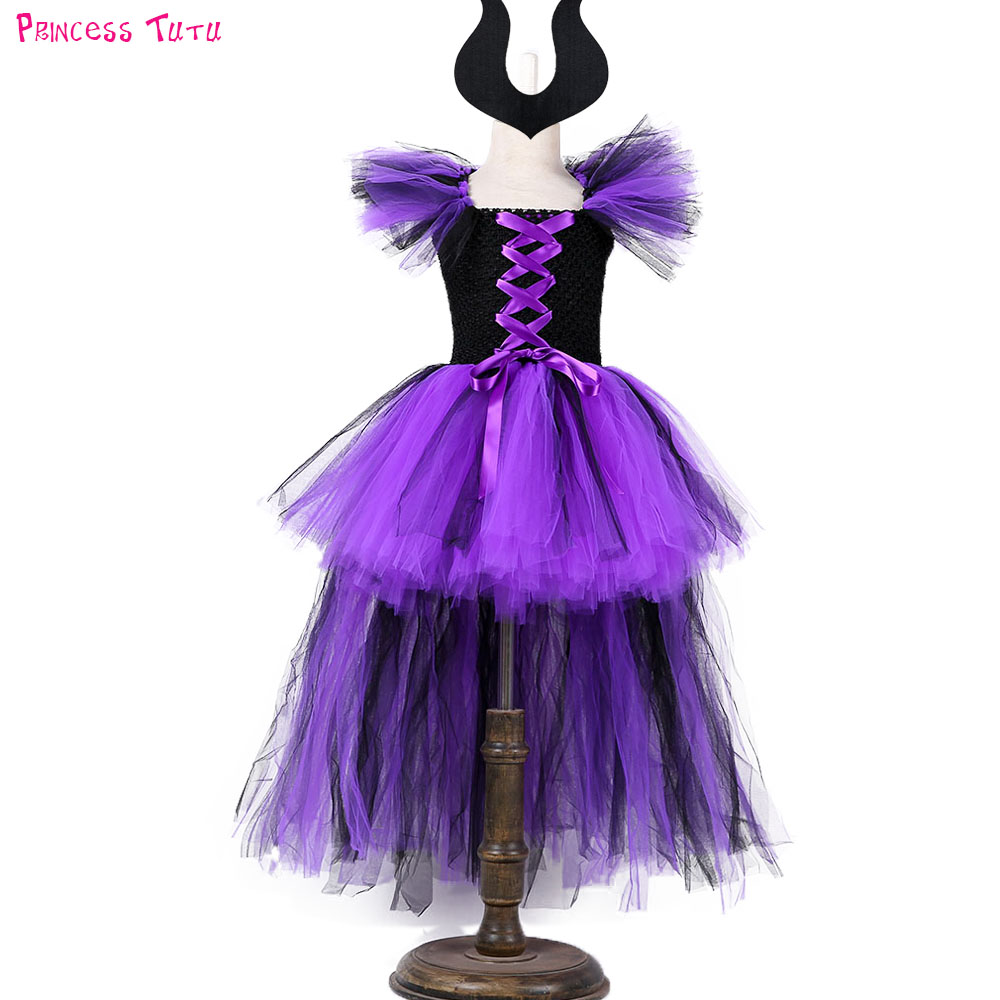 Halloween Girl Witch Tutu Dress with Train Purple Black Knee Length Ribbon Girl Sorceress Halloween Holiday Cosplay Costume Set