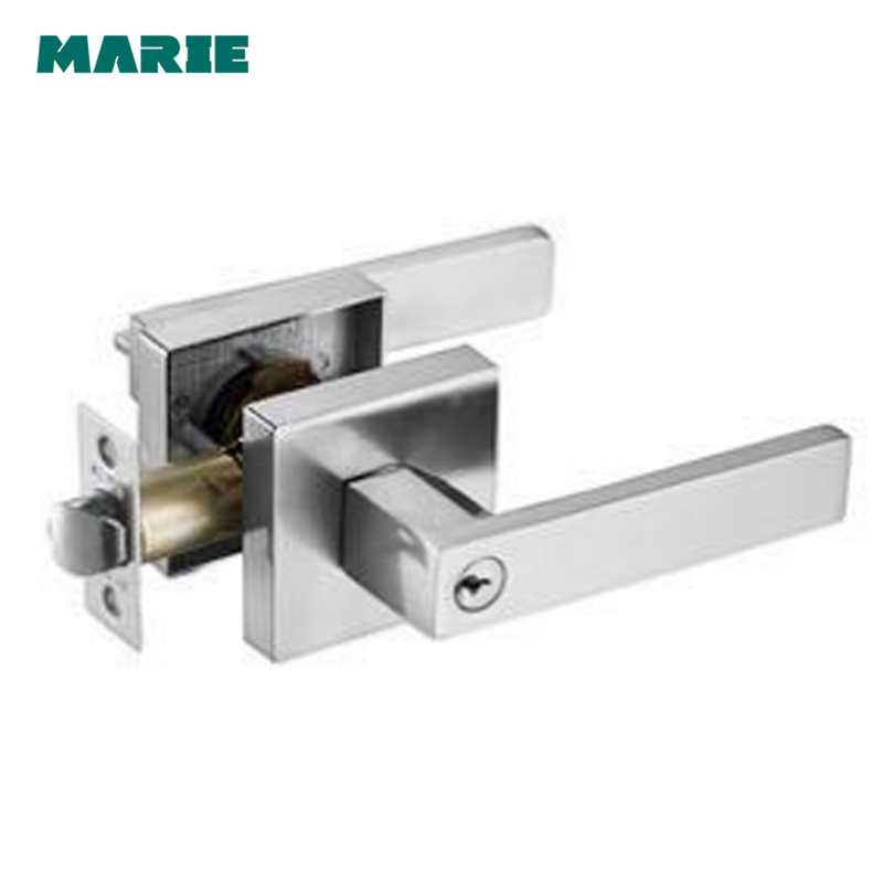 LH3008 Stainless Steel Door Handle with Lock Cylinder Front Back Lever Latch Polished Ho ...