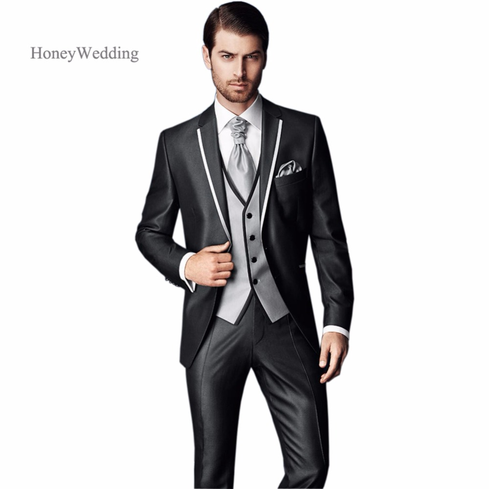 costume pour homme mariage 2018 new arrival slim fit charcoal wedding suit groom tuxedos. Black Bedroom Furniture Sets. Home Design Ideas