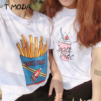 T MODA 2017 New Fashion Women Fries Printed White T Shirt Short Sleeve Casual T Shirts
