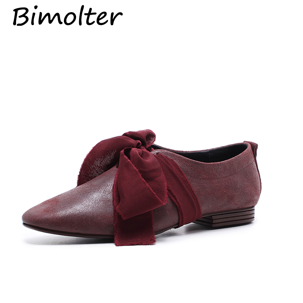 Bimolter Genuine Leather Flat Shoes Woman Cow Leather Spring Summer - Women's Shoes