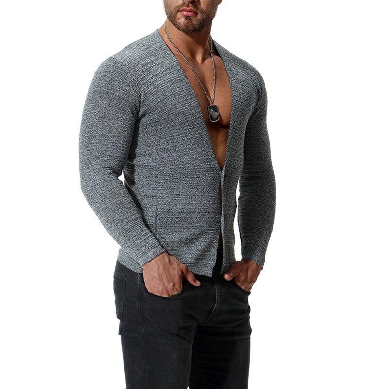 Sweater Men Cardigan Knit Male Stripe Casual Cotton V-Neck Slim for Nice-Grey Black Blue