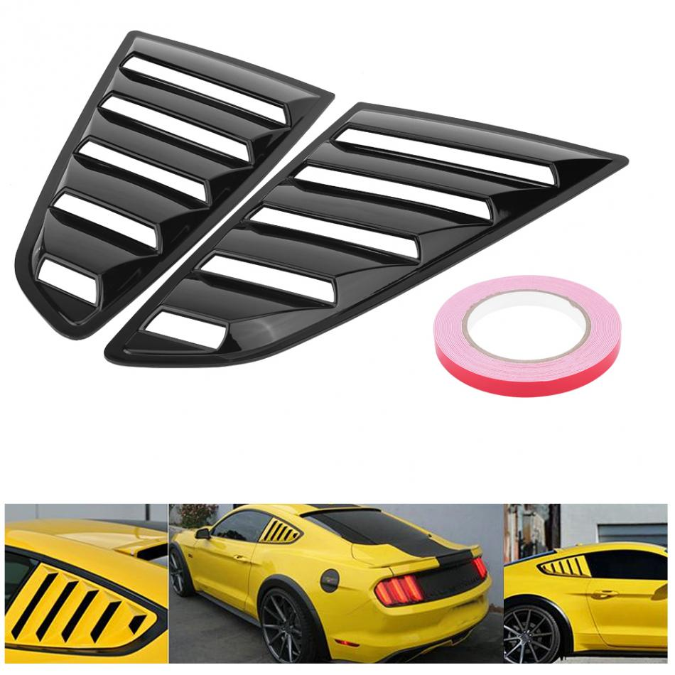 1Pair Window Louver Scoop Cover Vent Left Right Side for Ford Mustang 2015 2016 2017 Glossy