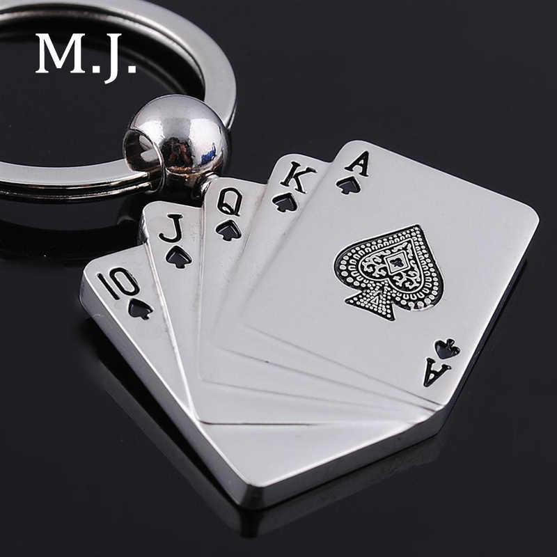 Mode Nieuwigheid Poker Charms Sleutelhanger Voor Mannen Trinket Speelkaarten Sleutelhanger Ring Mannelijke Auto Tas Sleutelhanger Sieraden Souvenirs Gift