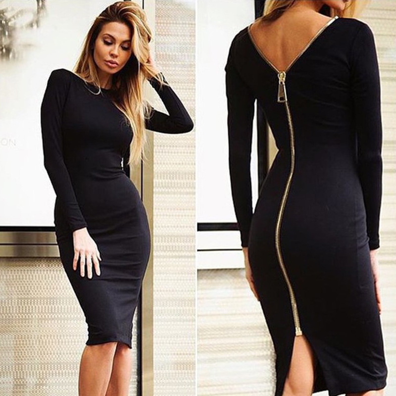 Spring new large size Bodycon dress Solid Color Round neck long sleeve Back zipper tight dress Female Fashion Clothes D1240 2