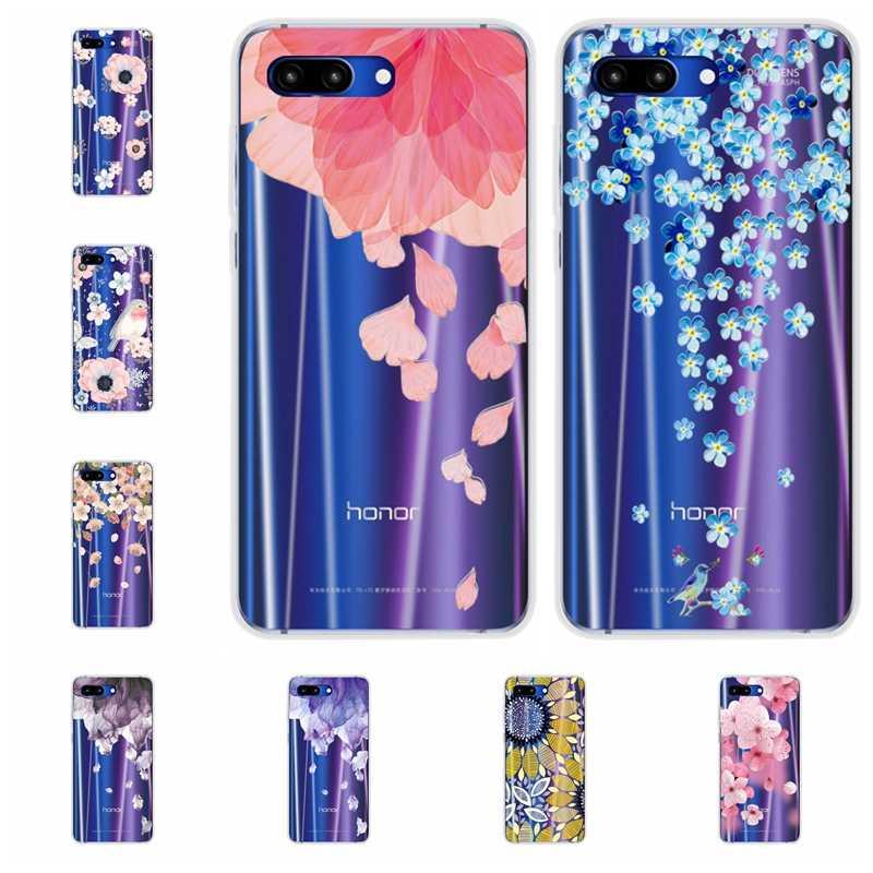 """Flores de encaje YOUVEI 3D alivio para Honor 10 Flexible suave Gel de silicona caso de la cubierta para Huawei Honor 10 5,84 """"pulgadas las cocas Capa"""