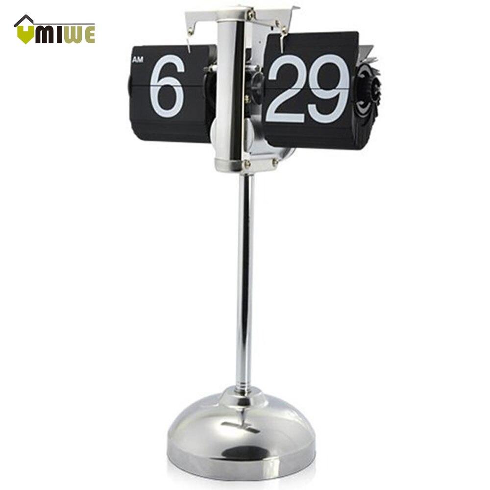 Umiwe mode moderne Vintage rétro interne engrenage actionné Flip Down horloge bureau Page tournant horloge pour la décoration intérieure, noir