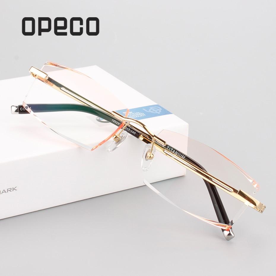 Opeco New Trimming Myopia Optical Prescription Eyeglasses Spectacles Men's Pure Titanium Eyewear Frame male rimless Glasses