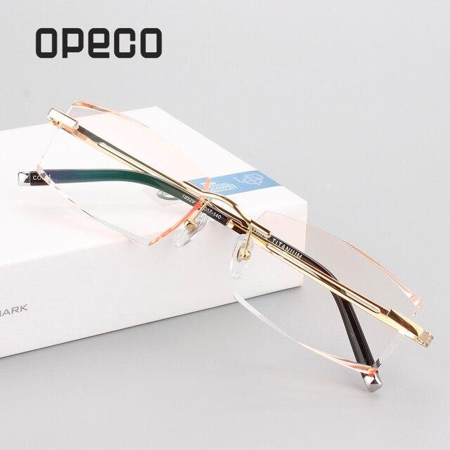 22926a38e9 Opeco nuevo recorte miopía gafas ópticas de prescripción gafas de titanio  puro para hombre gafas montura