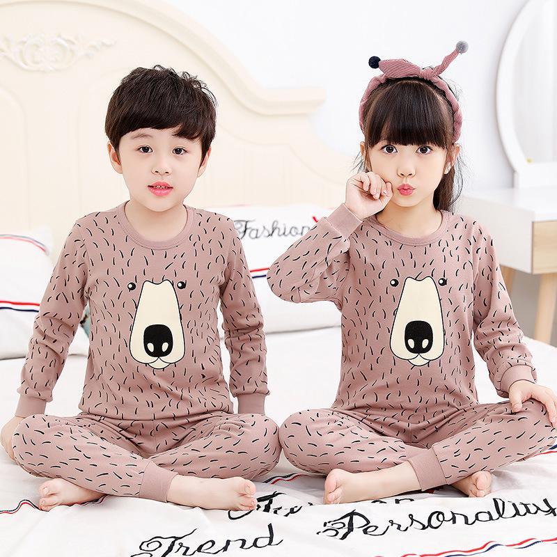 Little Girl Pajamas Set Cotton Long-Sleeved Childrens Pajamas Girls Pajamas for Ages 3-11