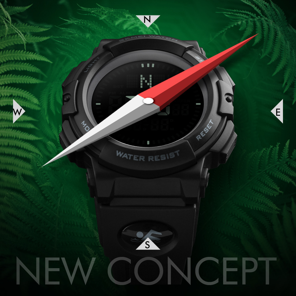 Men's Watches Zk30 Outdoor Sport Watch Men Compass Military Watches Countdown Chrono 5bar Waterproof Digital Watch Relogio Masculino 1254