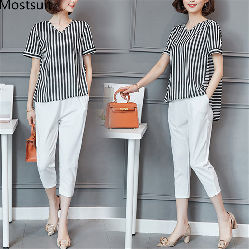 Plus Size Summer Striped Two Pieces Sets Women Short Sleeve Tops And Cropped Pants Suits Sets Casual Korean Women's Costume 2019 25