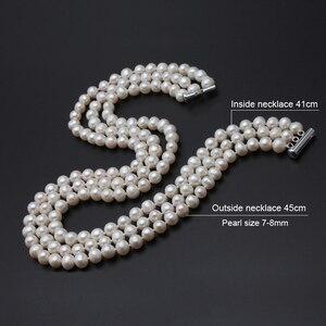 Image 2 - Echte perle halskette silber schmuck, süßwasser perle drei stehen chocker halskette Schmuck braut halskette für Frauen drop verschiffen